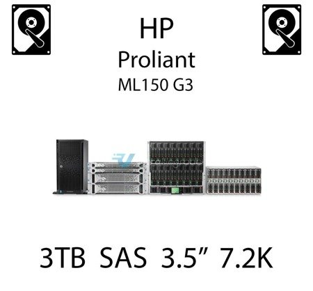 """3TB 3.5"""" dedykowany dysk serwerowy SAS do serwera HP ProLiant ML150 G3, HDD Enterprise 7.2k, 6GB/s - 625140-001 (REF)"""
