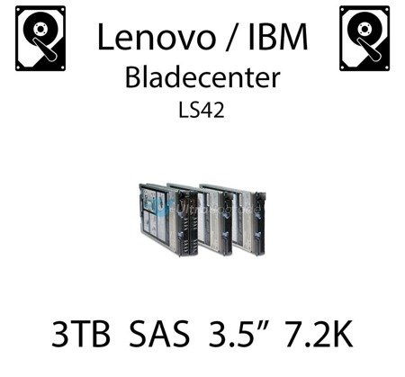 """3TB 3.5"""" dedykowany dysk serwerowy SAS do serwera Lenovo / IBM Bladecenter LS42, HDD Enterprise 7.2k, 600MB/s - 81Y9758"""